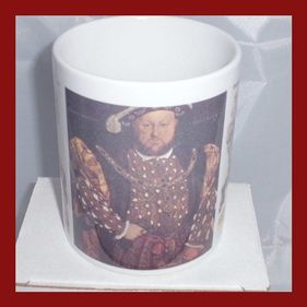 Henry the 8th Portrait and horse back Historical printed mug