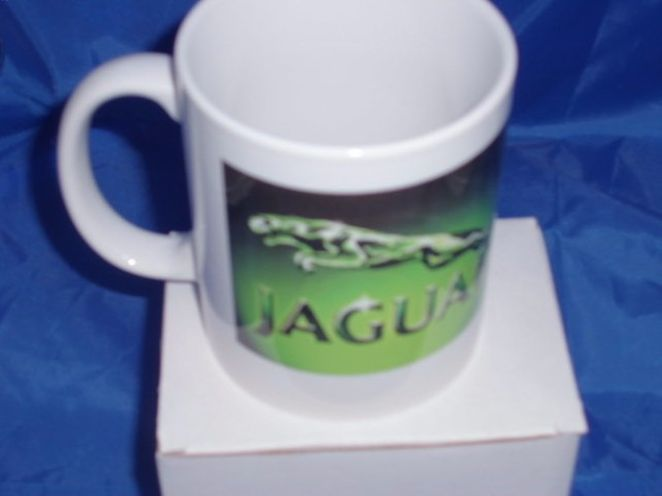 Jaguar green logo personalised mug