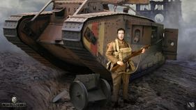 WW1 Tank with soldier next to it