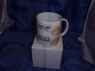 Bob the builder can we fix it no its Fcked funny joke humorous mug