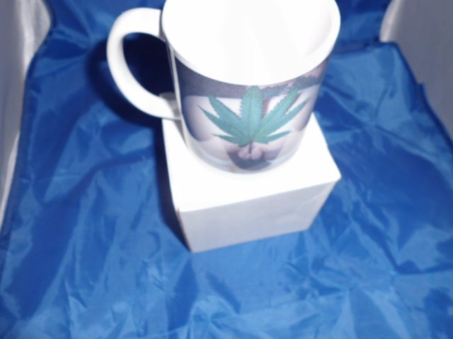 marijuana Leaf inside a womans vagina risque mug
